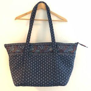 Vera Bradley Vintage Rare Navy Paisley Large Bag